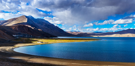 Panorama of Tso Moriri on sunset, Ladakh Stock Photo