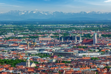 Aerial view of Munich center  from Olympiaturm (Olympic Tower). Munich, Bavaria, Germany Stock Photo