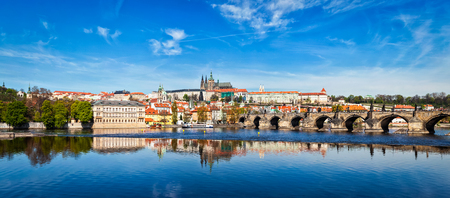 Charles bridge over Vltava river and Gradchany Prague Castle