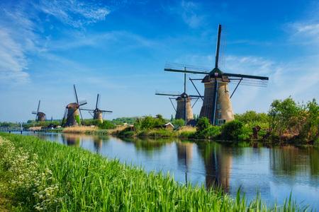 Windmills at Kinderdijk in Holland. Netherlands Stock Photo