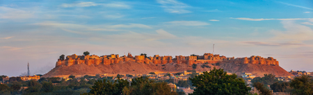 Panorama of Jaisalmer Fort known as the Golden Fort Sonar quila, Stock Photo