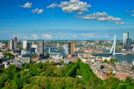 View of Rotterdam city and the Erasmus bridge Archivio Fotografico