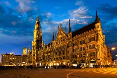 Marienplatz square at night with New Town Hall Neues Rathaus