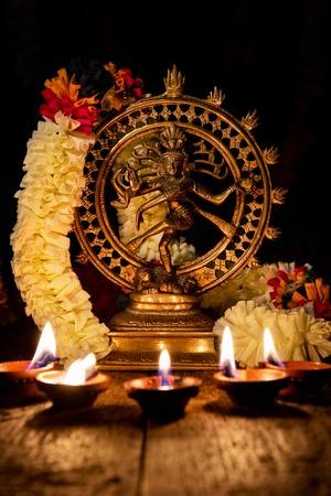 Shiva Nataraja with Diwali lights Stock Photo