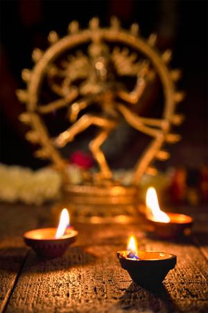 Diwali lights with Shiva Nataraja Stock Photo