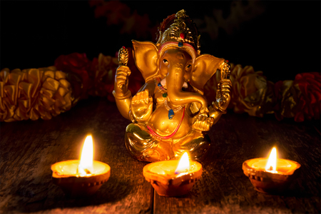 Ganesha with Diwali lights Stock Photo