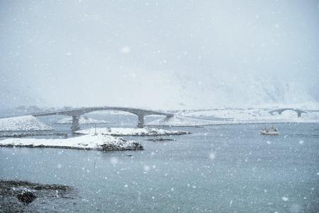 Snowfall on Lofoten islands, Norway Stock Photo