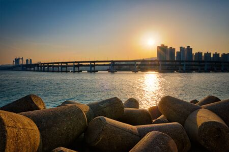 Gwangan bridge on sunset. Busan, South Korea