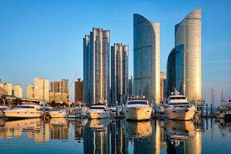 Busan marina with yachts on sunset, South Korea Zdjęcie Seryjne