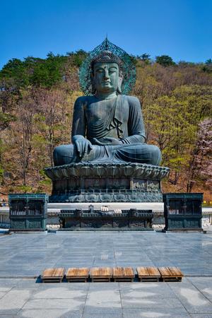 The Great Unification Buddha Tongil Daebul statue in Seoraksan National Park, South Korea. Stock Photo