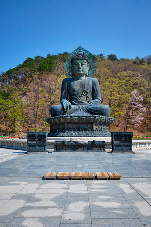 The Great Unification Buddha Tongil Daebul statue in Seoraksan National Park, South Korea. Imagens - 119103272