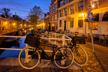 Canal and houses in the evening. Haarlem, Netherlands 版權商用圖片