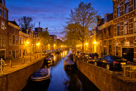 Canal and houses in the evening. Haarlem, Netherlands Reklamní fotografie