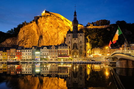 Night view of Dinant town, Belgium