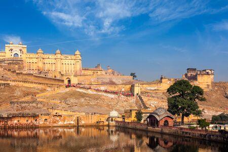Berühmtes Wahrzeichen von Rajasthan - Amer (Amber) Fort, Rajasthan, Indien
