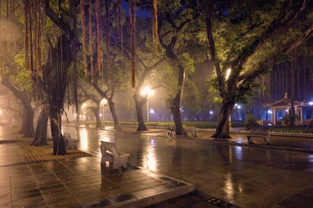 Guangzhou Peoples Park with fog at night, China