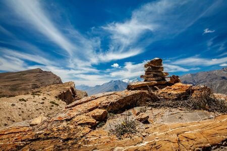 Stone cairn in Spiti Valley in Himalayas