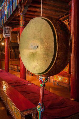 Tambour de gong à Likir gompa Banque d'images