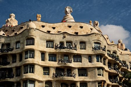 Casa Mila house by architect Antoni Gaudi Editorial