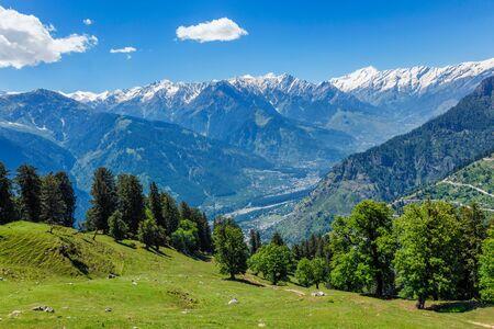Spring in Kullu valley in Himalaya mountains. Himachal Pradesh, India