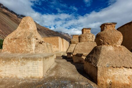 Buddhist Tabo monastery building and gompas made of clay in Tabo village Spiti Valley. Monastery is built on high Himalaya plato in tradition of Tibetan Buddhism religion. Himachal Pradesh, India