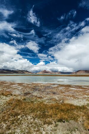 Himalayan scenic landscape scenery near Tso Kar - fluctuating salt lake in Himalayas. Rapshu, Ladakh, Jammu and Kashmir, India