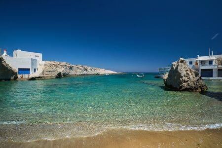 Crystal clear blue water at Mitakas village beach, Milos island, Greece. 版權商用圖片
