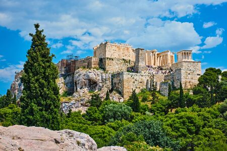 Famous greek tourist landmark - the iconic Parthenon Temple at the Acropolis of Athens as seen from Philopappos Hill, Athens, Greece