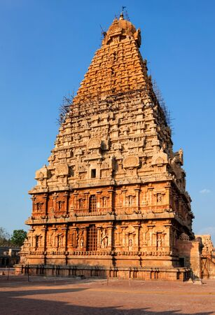 Famous Brihadishwarar Temple in Tanjore (Thanjavur), Tamil Nadu, India. and religious pilgrimage site Greatest of Great Living Chola Temples