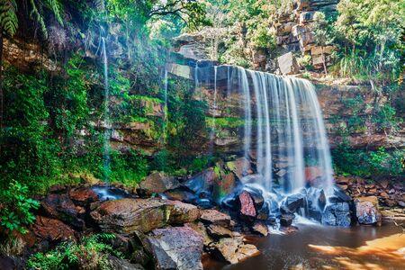 Tropical waterfall in Cambodia Stock Photo