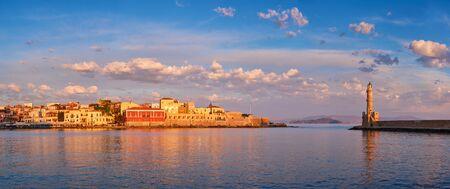 Picturesque old port of Chania, Crete island. Greece Banco de Imagens