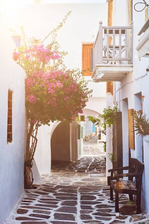 Picturesque Naousa town street on Paros island, Greece