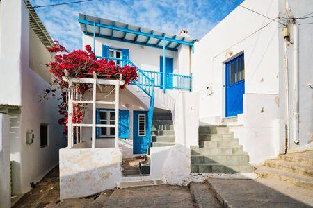 Picturesque Naousa town street on Paros island, Greece