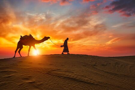 Indian cameleer camel driver with camel silhouettes in dunes on sunset. Jaisalmer, Rajasthan, India Standard-Bild