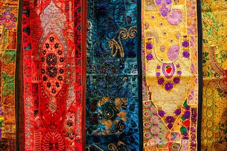 Indian fabric with Indian patterns close up. Standard-Bild