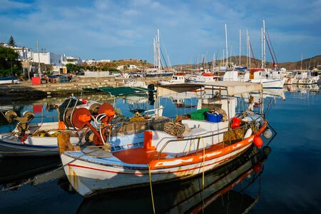 Fishing boats in port of Naousa. Paros lsland, Greece Archivio Fotografico