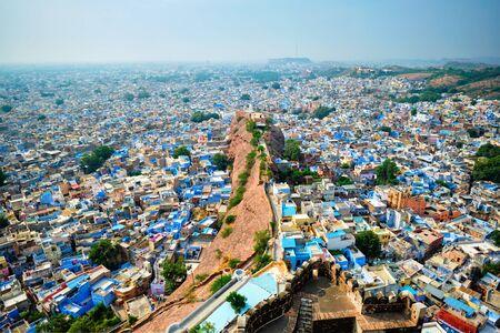 Aerial view of Jodhpur Blue City. Jodphur, Rajasthan, India