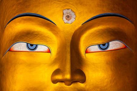 Maitreya Buddha face close up, Ladakh Stock Photo