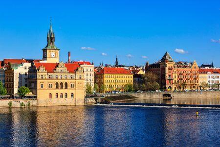 Prague Stare Mesto embankment view from Charles bridge 版權商用圖片
