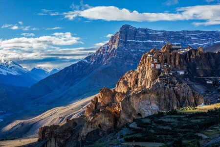 Dhankar monastry perched on a cliff in Himalayas, India Stock Photo