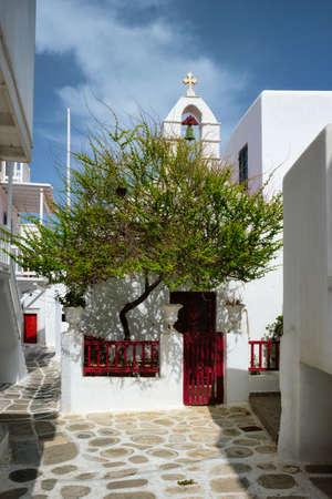 Greek Mykonos street on Mykonos island, Greece