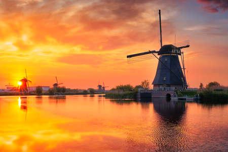 Windmills at Kinderdijk in Holland. Netherlands
