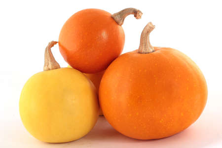 included: Three pumpkins isolated on a white background with a drop shadow. Clipping path included. Stock Photo
