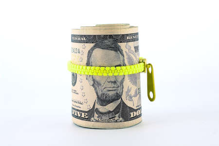 five dollar bill: Portrait of Abraham Lincoln on the five dollar bill Stock Photo