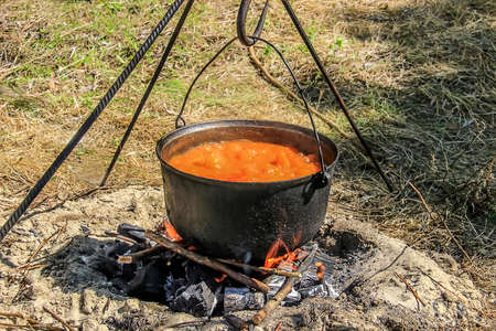 soup kettle: In a pot on the fire preparing food Stock Photo