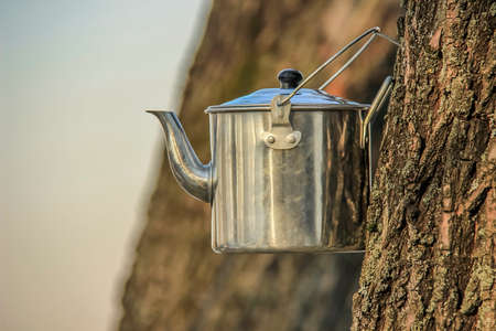 cool down: Kettle for tea camping cool down in the open air