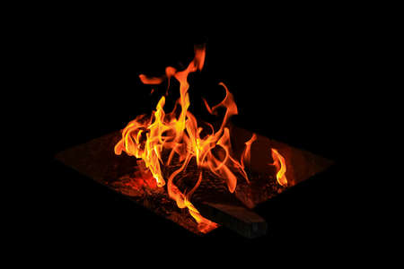 embers: The flames and embers on the black background