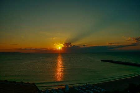 beautiful early dawn in the sea
