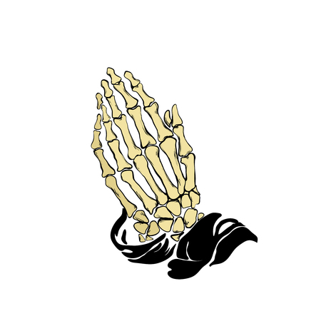 Vector illustration - Praying skeleton hands Illustration