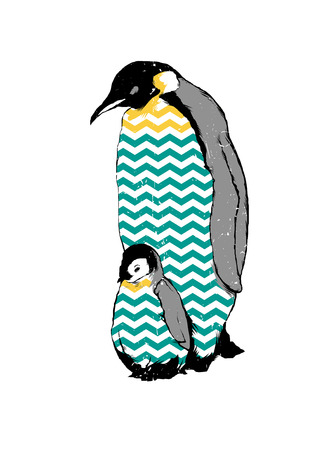 Vintage vector illustration of penguins baby and parent